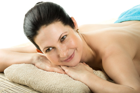 spa woman: the very  pretty  young woman on spa treatment , horizontal  portrait