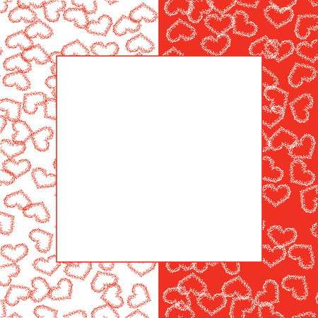framework: beautiful abstract frame of many hearts, two colour red and white