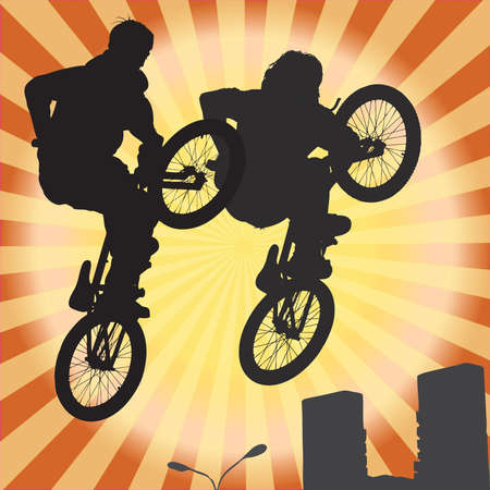 brave of sport: The group of two  bicyclist on a bicycle in a jump, illustration Stock Photo