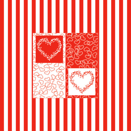 isolation backdrop: beautiful abstract  background of many hearts, two colour red and white Stock Photo