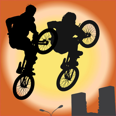 bicyclist: The group of two  bicyclist on a bicycle in a jump, illustration Stock Photo