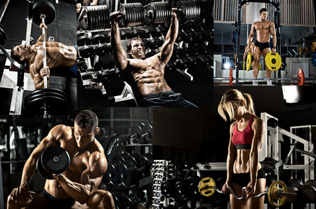 gym: bodybuilding,  execute exercise press with weight, in gym, collage of photo