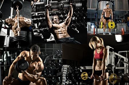 bodybuilder: culturismo, ejecutar el ejercicio de prensa con peso, en el gimnasio, collage de la foto