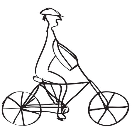 The bicyclist on a bicycle , on white background,vector  illustration