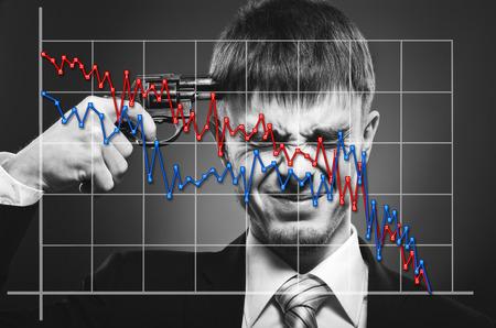 deplorable: portrait businessman and diagram, concept bankruptcy Stock Photo