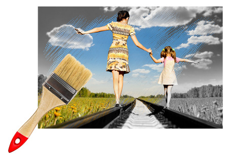 paintbrush draw photo of black-and-white in colour, Mother with the daughter go on rails, summer in field photo