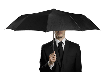 undercover agent: man in black costume with blak umbrella,  special-service agent , on white background, isolated