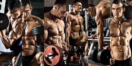 보디 빌딩은 체육관에서, 무게와 사진 콜라주 운동을 눌러 실행 스톡 콘텐츠