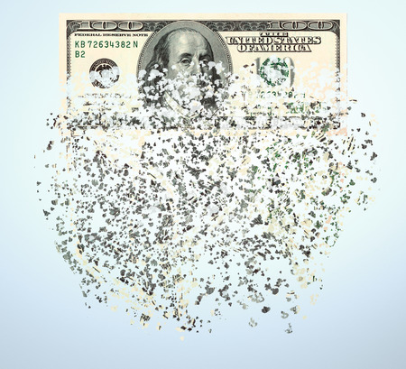 pecuniary: shredded  currency note  US dollars, close up, on light blue background, inflation concept Stock Photo