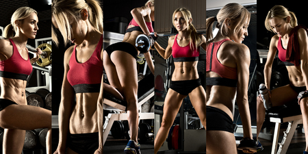 fitness girl: bodybuilding,  execute exercise press with weight, in gym, collage of photo