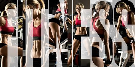 fitnes: bodybuilding, uit te voeren oefening pers met gewicht, in de sportschool, collage van foto Stockfoto