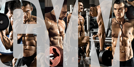 vigorously: bodybuilding,  execute exercise press with weight, in gym, collage of photo