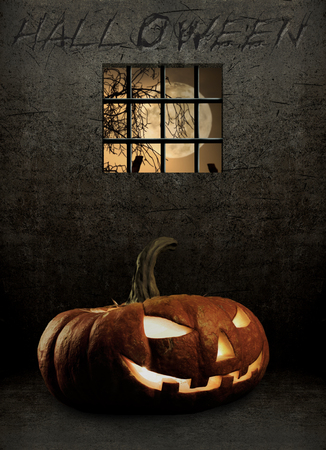 feast: pumpkin in a prison cell, concept  religious  feast  Halloween Stock Photo