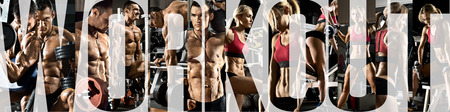 bodybuilding, execute exercise with weight, in gym, horizontal panorama, collage of photo