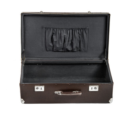 rarity: open rarity brown leather suitcase, on white background