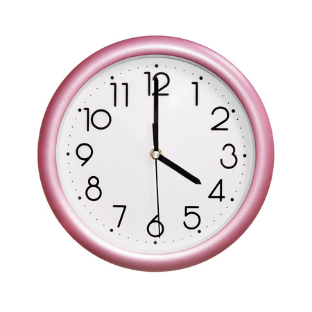 o'clock: four oclock, photo round red-pink clock, on white background, isolated