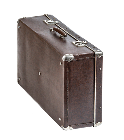 suitcases: open rarity brown leather suitcase, on white background; isolated