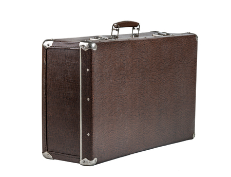 rarity: open rarity brown leather suitcase, on white background; isolated