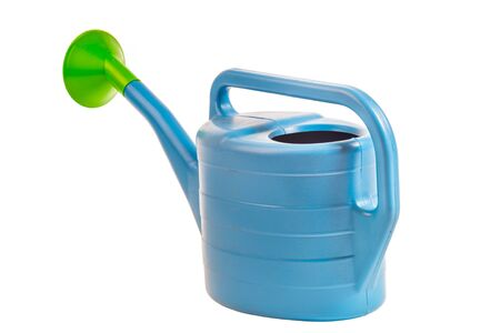 wateringcan: blue  plastic watering can,  on white background; isolated Stock Photo