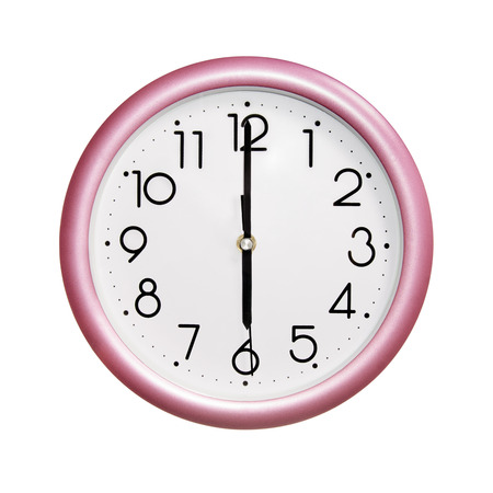 o'clock: six oclock, photo round red-pink clock, on white background, isolated Stock Photo