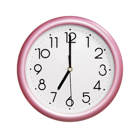 seven o'clock: seven oclock, photo round red-pink clock, on white background, isolated