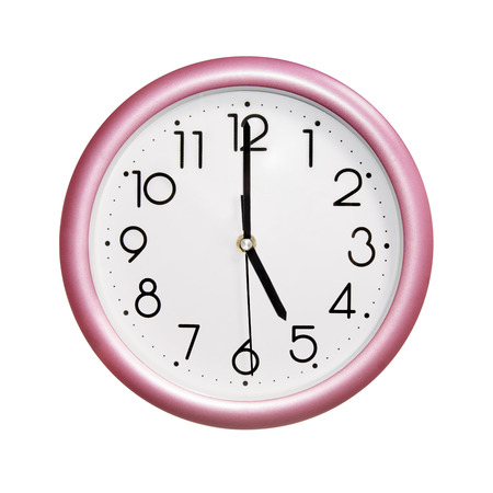 o'clock: five oclock, photo round red-pink clock, on white background, isolated