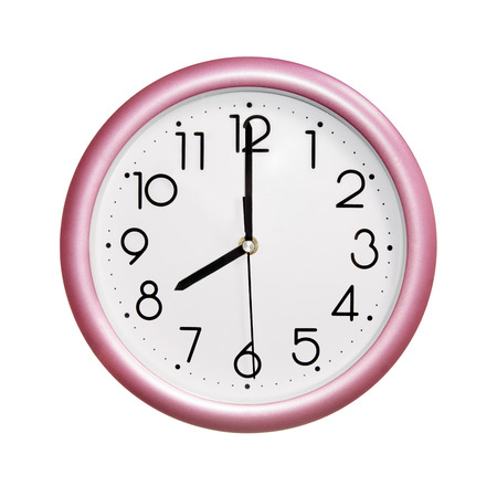 o'clock: eight oclock, photo round red-pink clock, on white background, isolated Stock Photo