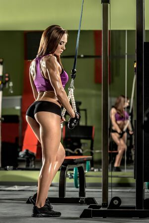 musculation: fitness girl,  execute exercise with gym apparatus, on triceps Stock Photo