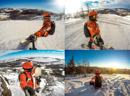 Young snowboarder extreme freeride,  snowboarding sport - collage
