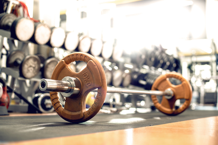 weight room: weight in light gym room, close up horizontal photo Stock Photo