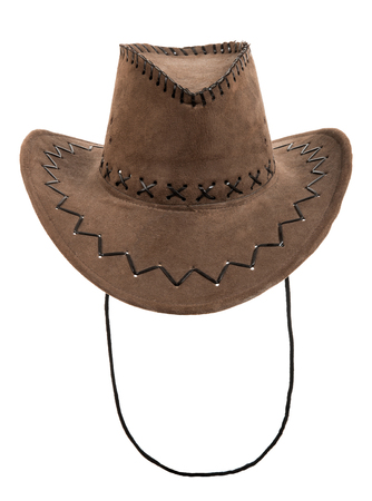 fullface: one brown chamois stetson cowboy hat,  full face, on white background; isolated Stock Photo