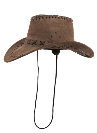 stetson: one brown chamois stetson cowboy hat,  from one side, on white background; isolated