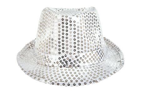 fullface: one festively shining white hat,  full face, on white background; isolated