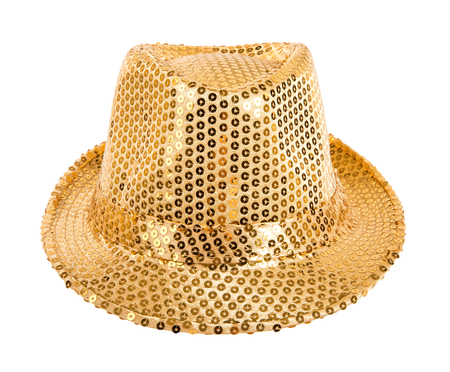 full face: one festively shining gold or yellow hat,  full face, on white background; isolated