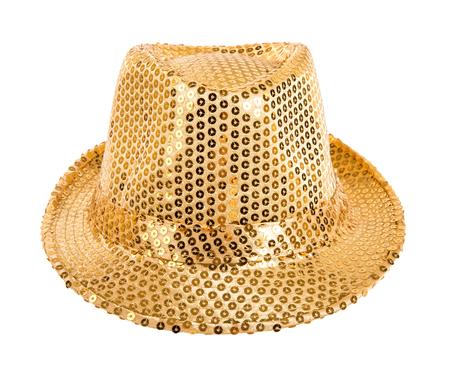 fullface: one festively shining gold or yellow hat,  full face, on white background; isolated