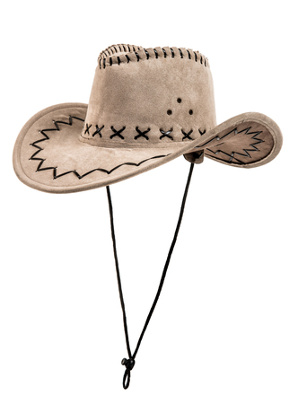 stetson: one chamois stetson cowboy hat,  from one side, on white background; isolated Stock Photo