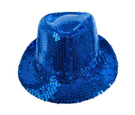 full face: one festively shining blue hat, full face, on white background; isolated