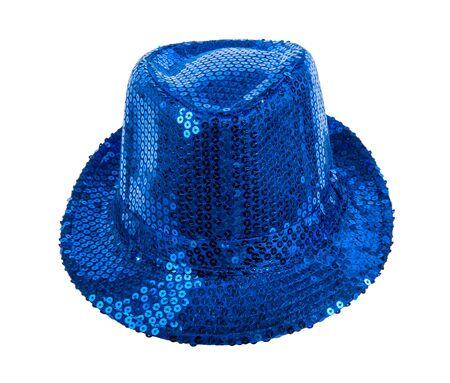 fullface: one festively shining blue hat, full face, on white background; isolated