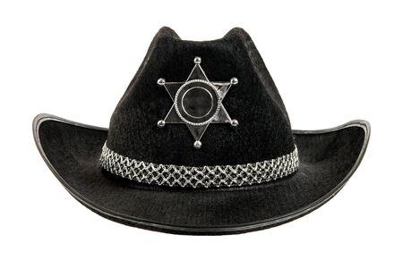 fullface: one black sheriff cowboy hat,  full face, on white background; isolated Stock Photo
