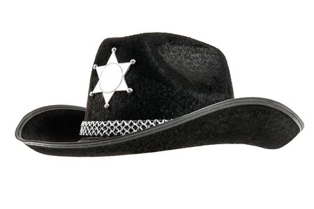stetson: one black sheriff cowboy hat, from one side, on white background; isolated Stock Photo