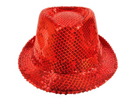 full face: one festively shining red hat,  full face, on white background; isolated Stock Photo