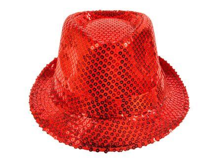 fullface: one festively shining red hat,  full face, on white background; isolated Stock Photo