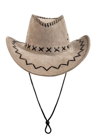 fullface: one chamois stetson cowboy hat,  full face, on white background; isolated