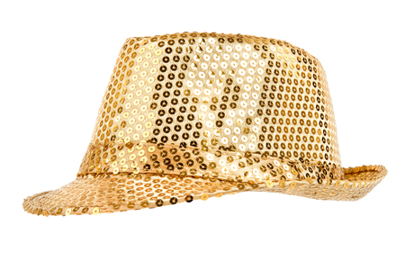 festively: one festively shining gold or yellow hat, from one side, on white background; isolated