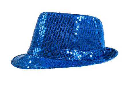 one festively shining blue hat, from one side, on white background; isolated Stock Photo