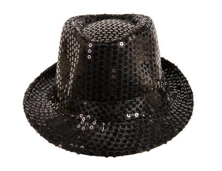 fullface: one festively shining black hat,  full face, on white background; isolated Stock Photo
