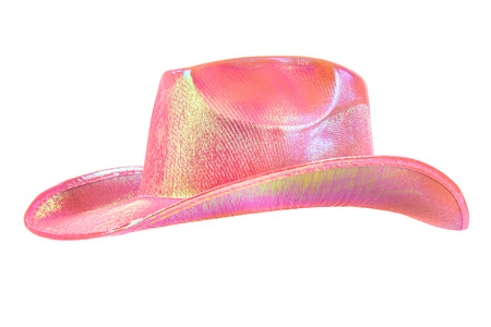 festively: one festively shining pink stetson cowboy hat, from one side, on white background; isolated