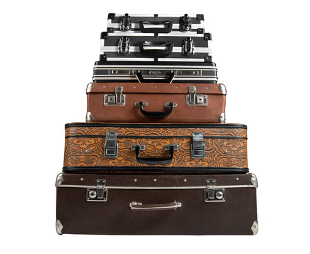rarity: pile of suitcase in the lying position, on white background; isolated