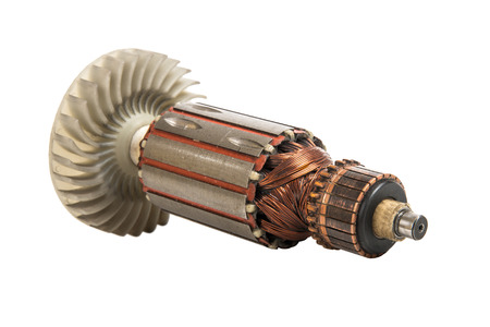 impeller: armature - rotor, spare parts of electric motor, on white background, isolated Stock Photo