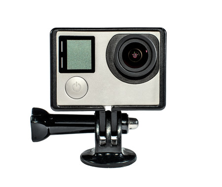 electronica: photo one action camera for extreme sports, on white background, isolated Stock Photo